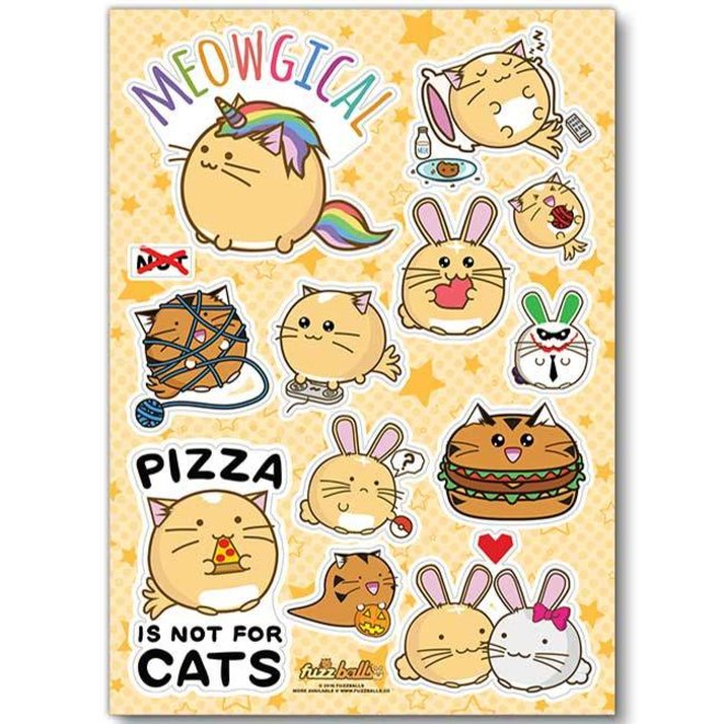 Fuzzballs Sticker sheet A6 - Meowgical
