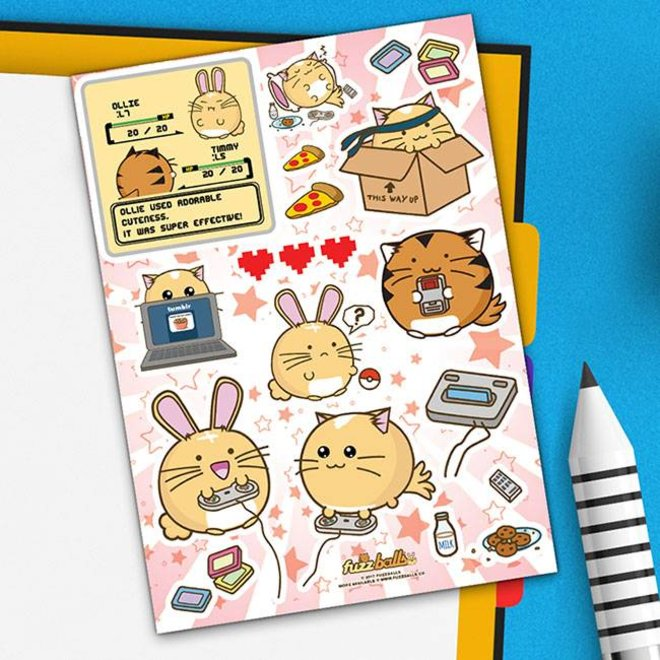 Fuzzballs Sticker sheet A6 - Video Games