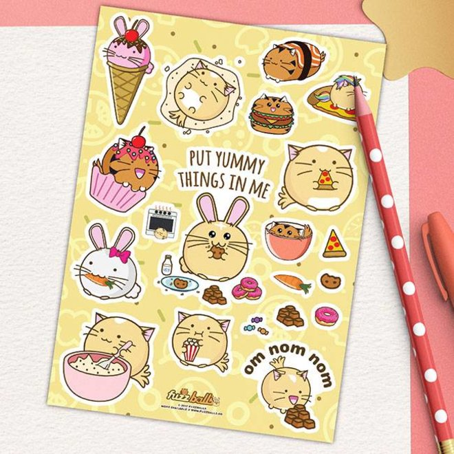 Fuzzballs Sticker sheet A6 - Om nom nom