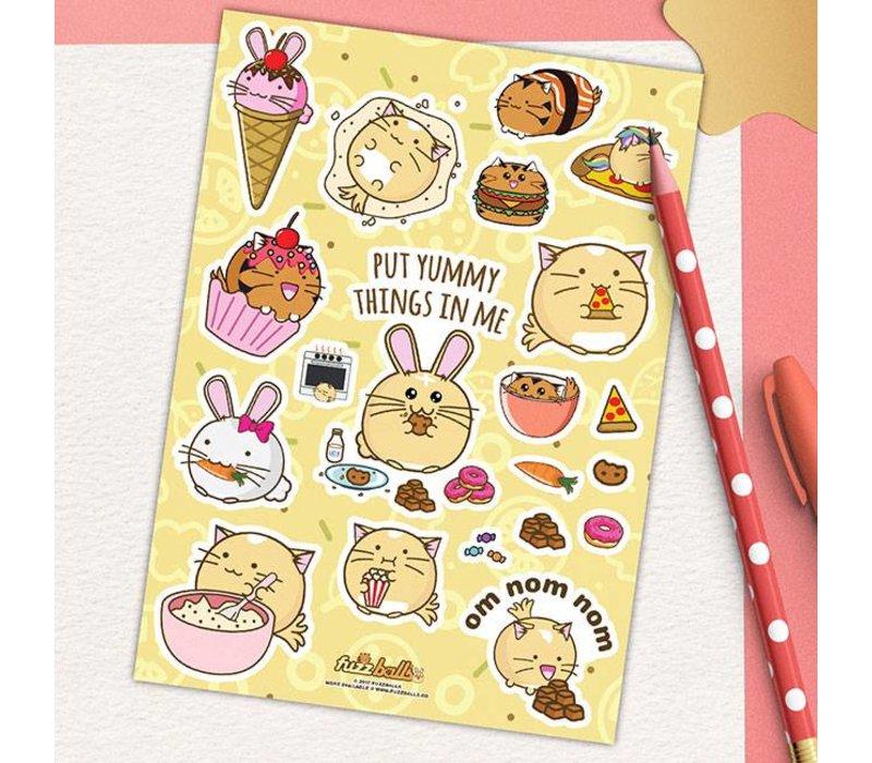 Fuzzballs Sticker sheet A6 - Om nom nom