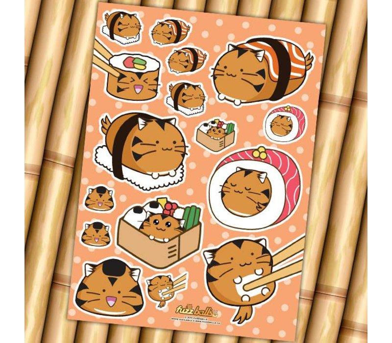Fuzzballs Sticker sheet A6 - Sushi