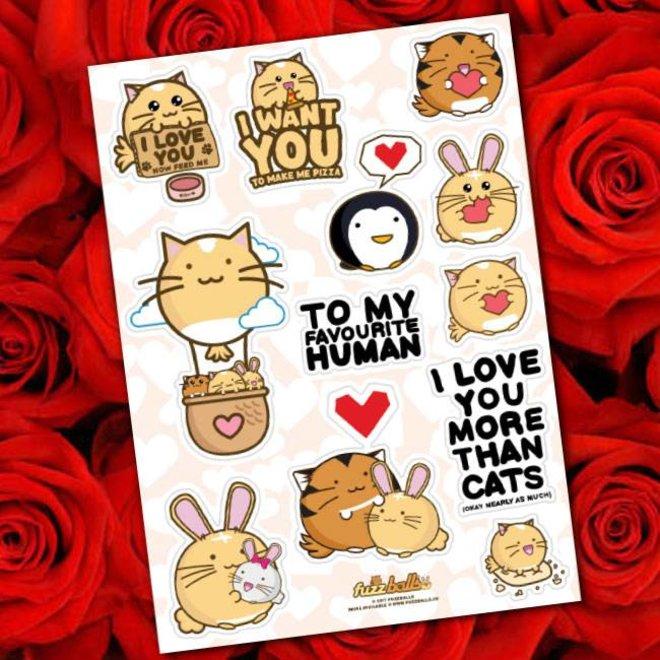 Fuzzballs Sticker sheet A6 - Love