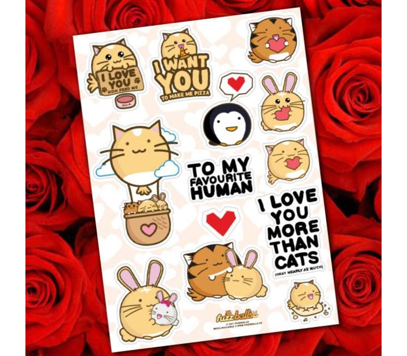 Fuzzballs Stickervel A6 - Love
