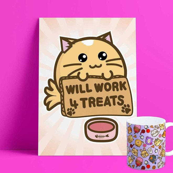 Fuzzballs Print A4 - Will Work For Treats