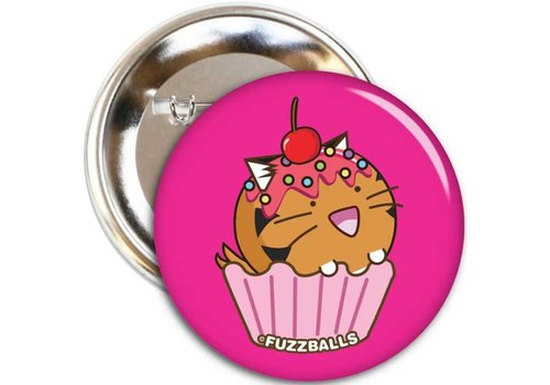 Fuzzballs Button - Tiger cupcake