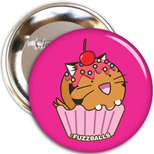 Fuzzballs Button - Tiger cupcake