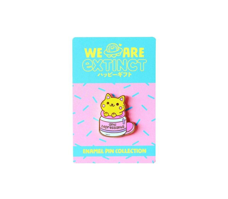 We Are Extinct emaille Pin - Anti-Depressants Cat