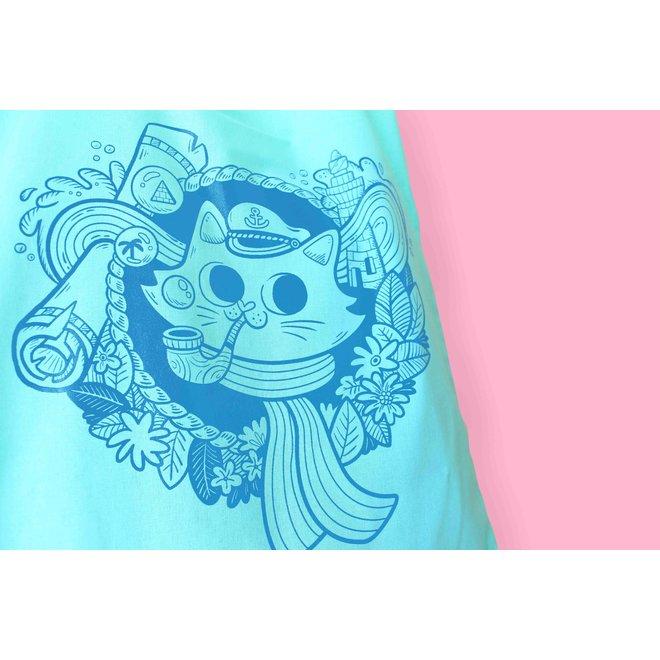 Totebag - Sailor Cat mintgroen