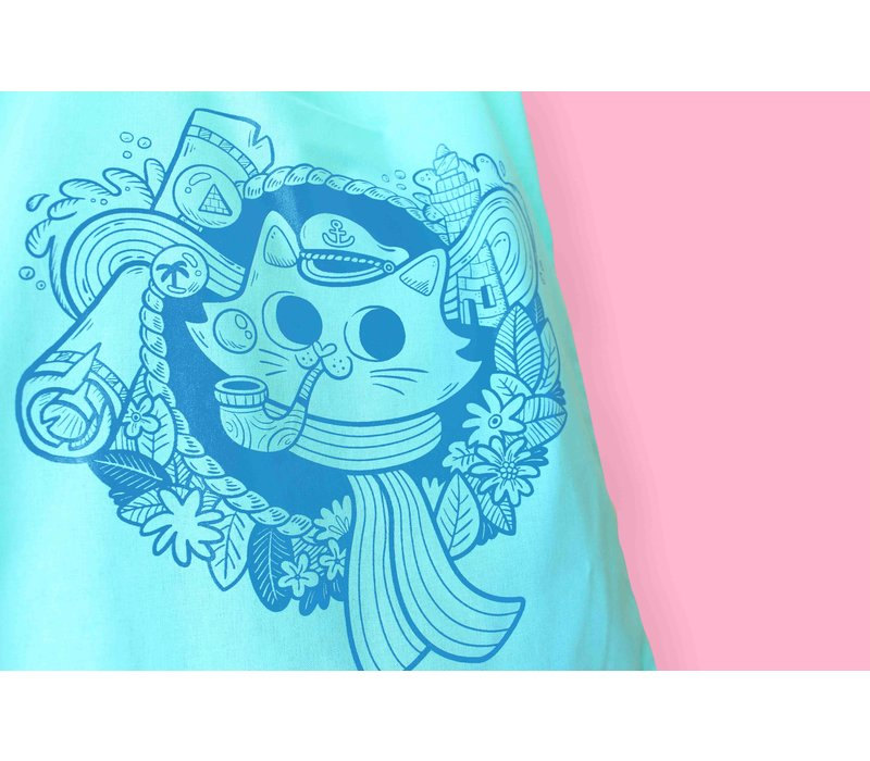 Totebag - Sailor Cat mintgroen