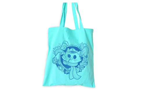 We Are Extinct Totebag - Sailor Cat Mint green