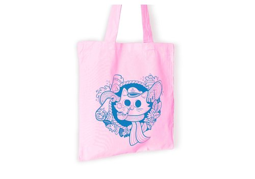 We Are Extinct Totebag - Sailor Cat Pastel pink