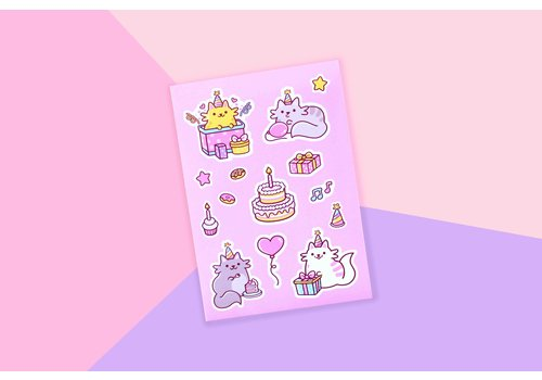 We Are Extinct Sticker sheet - Birthday Cats