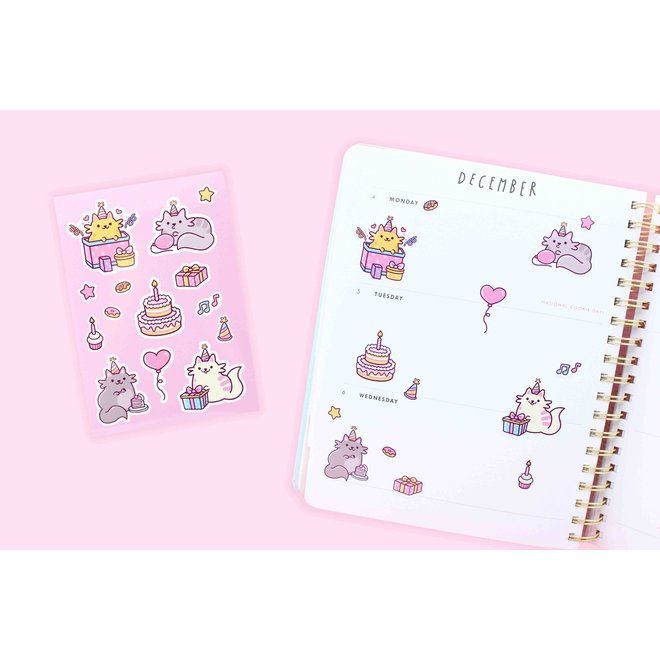 Sticker sheet - Birthday Cats
