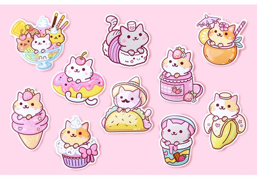 We Are Extinct YumYum Cats sticker set - 1