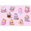 We Are Extinct YumYum Cats sticker set - 2