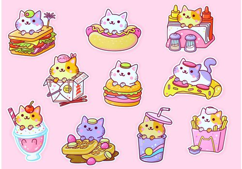 We Are Extinct YumYum Cats sticker set - 3