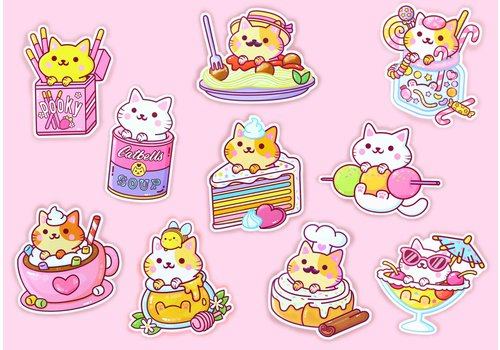 We Are Extinct YumYum Cats sticker set - 4