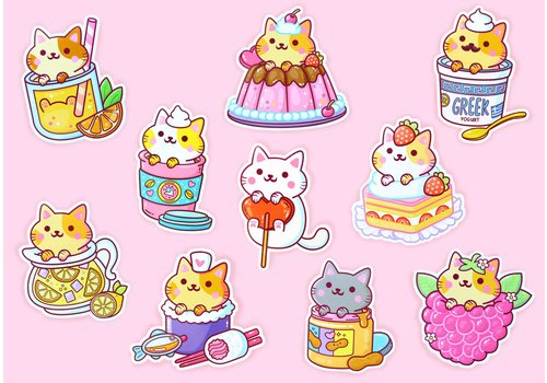 We Are Extinct YumYum Cats sticker set - 5