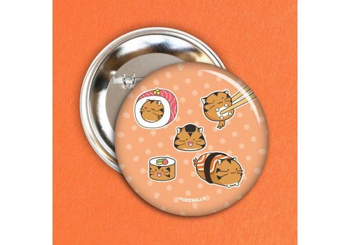 Fuzzballs Button - Tiger sushi