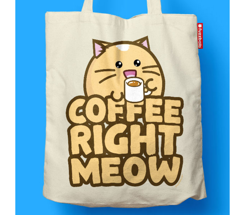 Fuzzballs Totebag - Coffee right meow