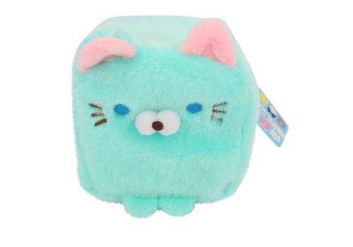 Cube Cat plushie - Turkoois