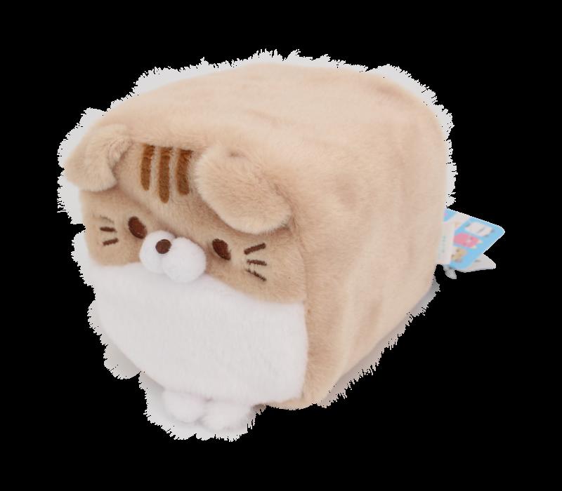 Cube Cat plushie - Brown & White