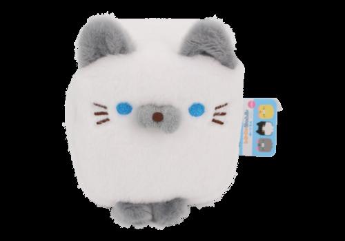 Cube Cat plushie -  Wit & Grijs