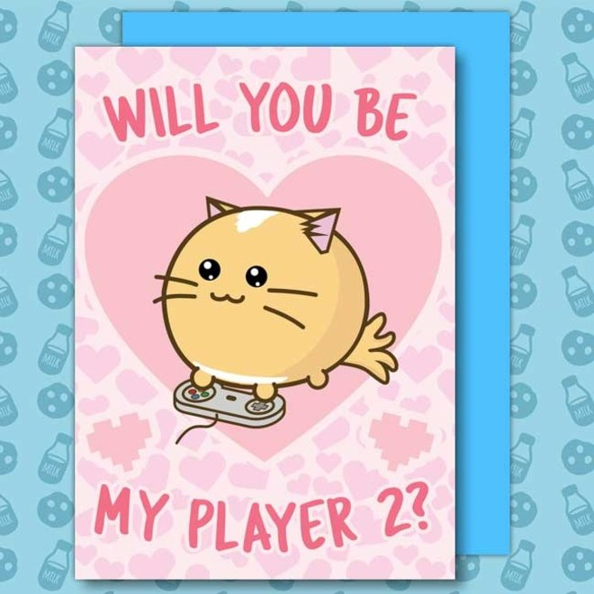 Fuzzballs post card - Will you be my player 2?