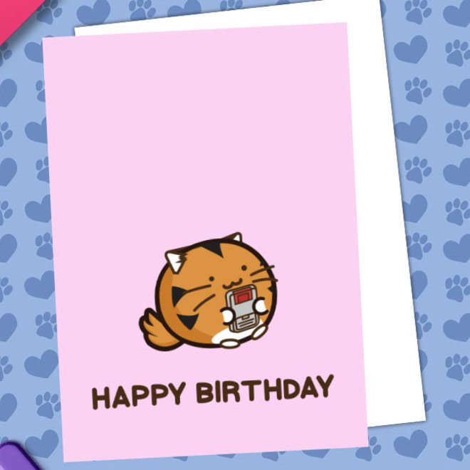 Fuzzballs ansichtkaart - Happy Birthday  (Tiger Gamer)