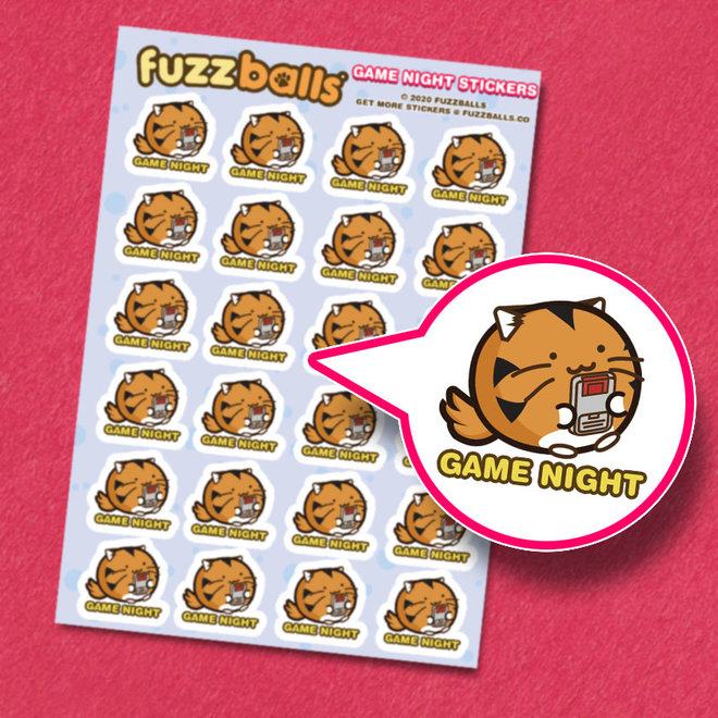 Fuzzballs sticker sheet - Game night