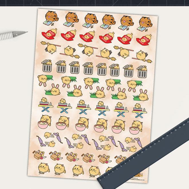 Fuzzballs sticker sheet - Chores