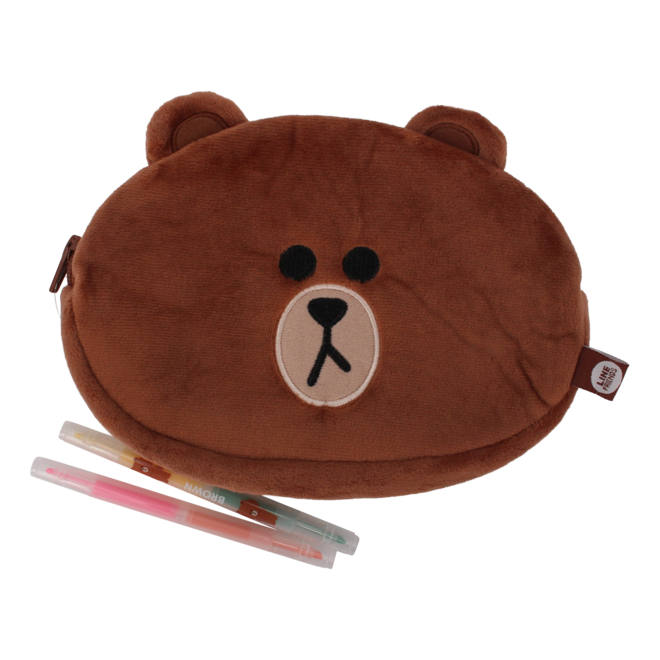 Line Friends plush pencil case Brown