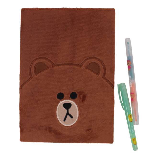 Line Friends plush notebook Brown
