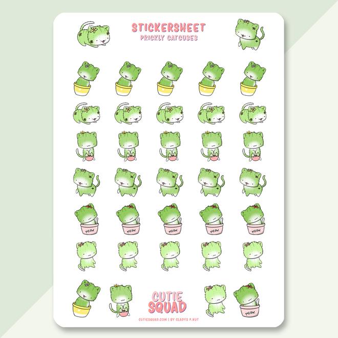 CutieSquad Sticker sheet - Cactus Cats
