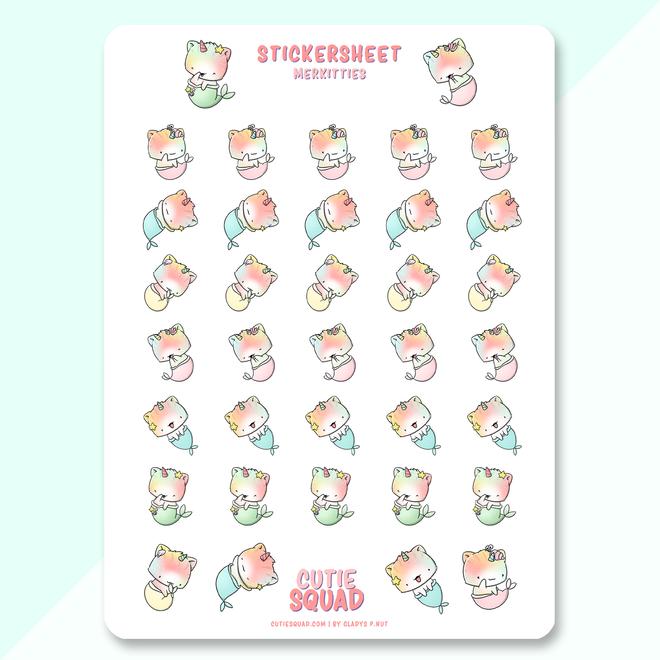 CutieSquad Sticker sheet - Mermaid Unikitties