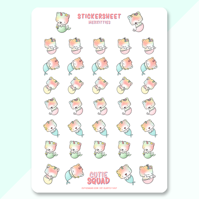 CutieSquad Stickervel - Mermaid Unikitties