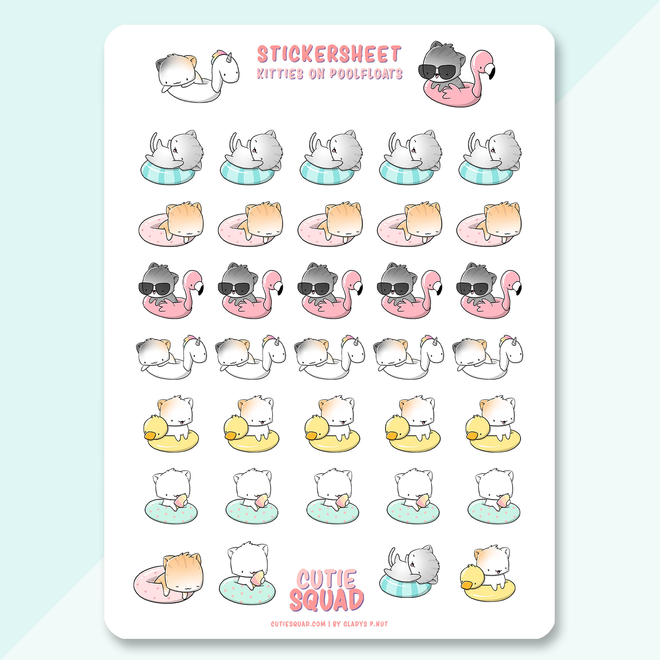 CutieSquad Sticker sheet - Cats on poolfloats
