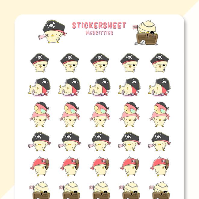 CutieSquad Sticker sheet - Pirate Chicks