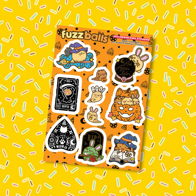 Fuzzballs sticker sheet - Halloween pin