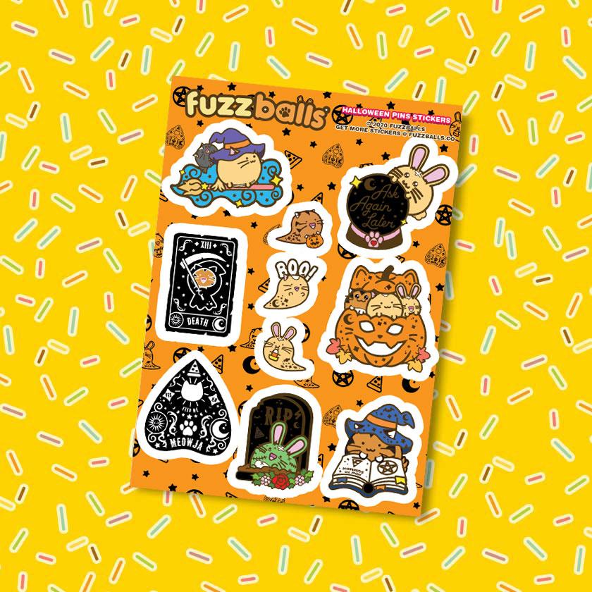 Fuzzballs Fuzzballs stickervel - Halloween pin