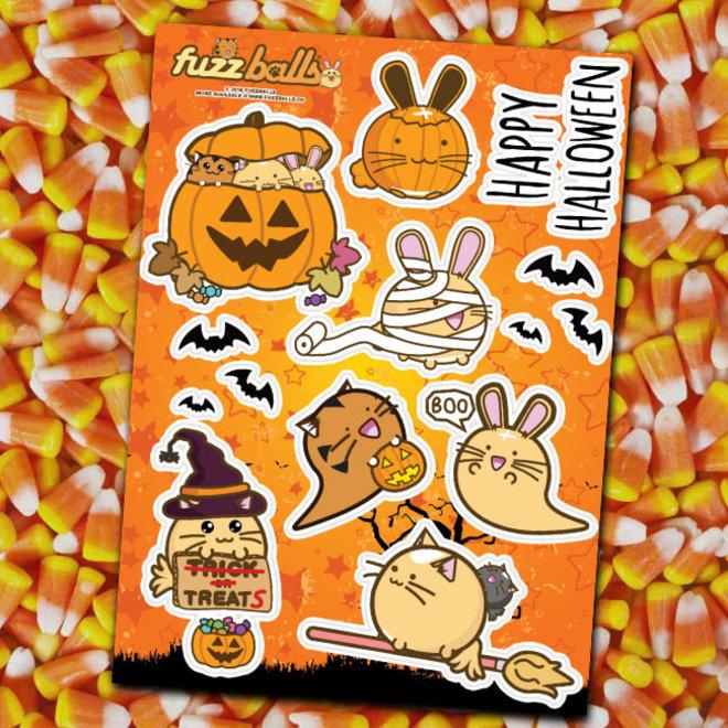 Fuzzballs stickervel - Halloween