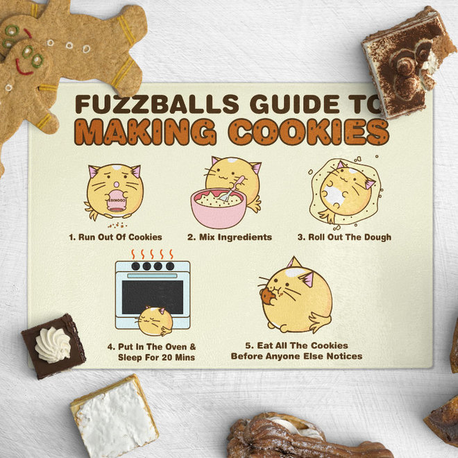 Fuzzballs chopping board -  Fuzzballs guide to making cookies