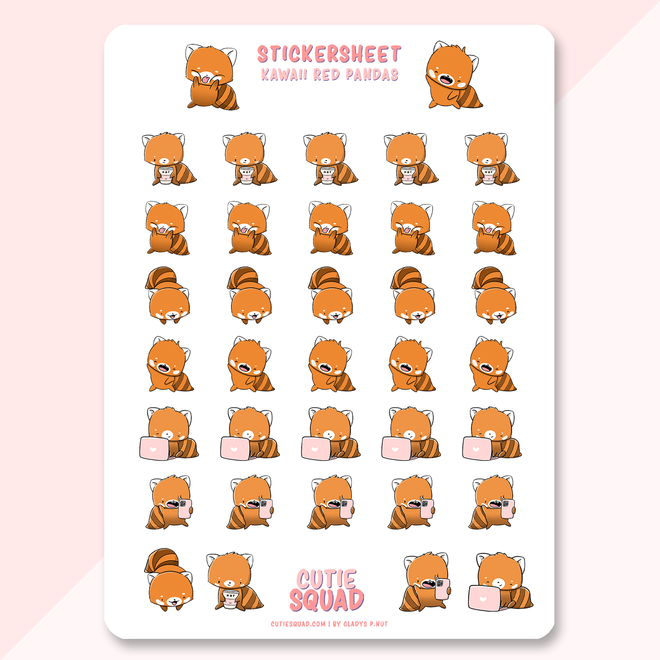 Cutie Squad Stickervel - Kawaii Red Pandas