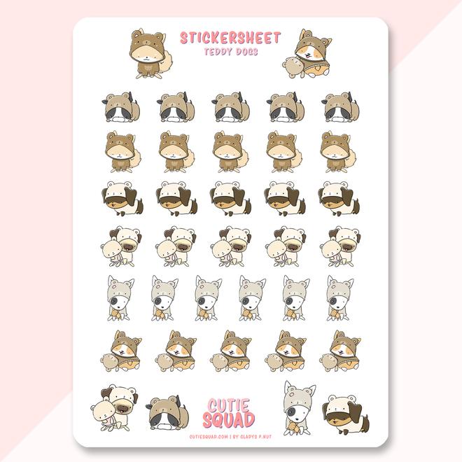 CutieSquad Sticker sheet - Teddy Dogs