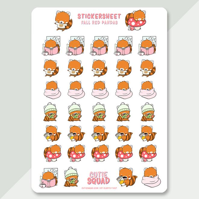 CutieSquad Stickervel - Red pandas fall
