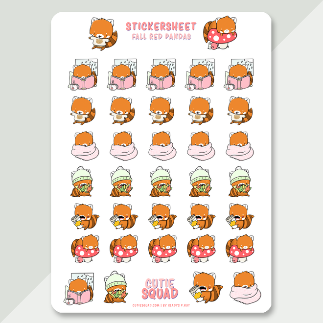 Stickervel - Red pandas fall