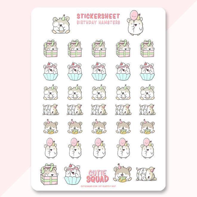Sticker sheet - Birthday Hamsters