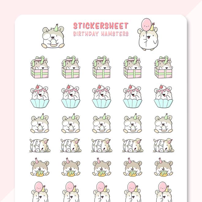 CutieSquad Sticker sheet - Birthday Hamsters