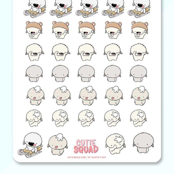 CutieSquad Sticker sheet - Yetis