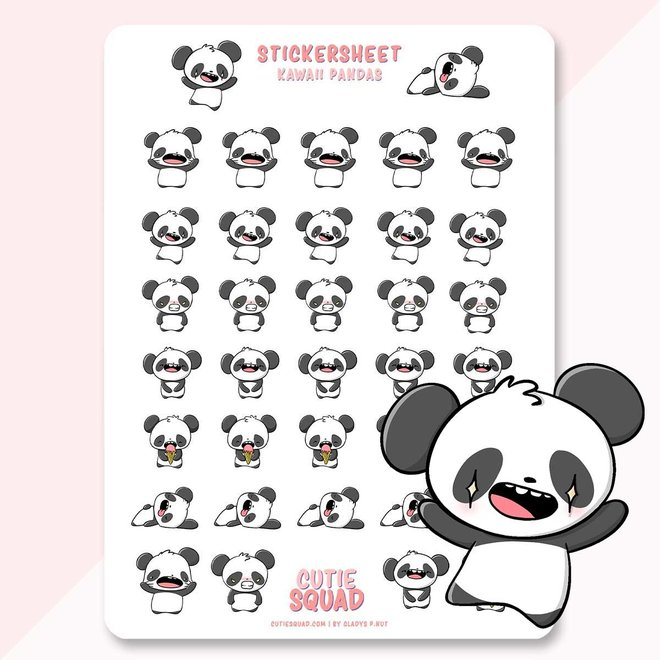 Sticker sheet - Kawaii Pandas